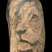 lion tattoos, tattoos for men, realistic tattoos