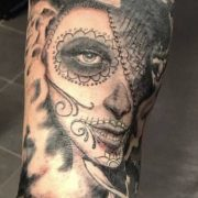 sleeve tattoo, day of the dead girl, day of the dead tattoo.