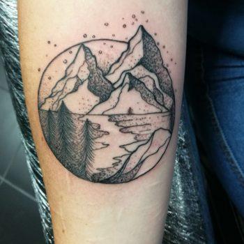 dot work tattoo, mountain tattoo, Forrest tattoo, girly tattoos, small tattoos, landscape tattoos