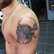 skull tattoo, one eyed Willie tattoo, goonies tattoo