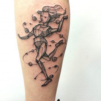 doll tattoo, sketch tattoo, custom tattoo, girl tattoo, delicate tattoo, fine line tattoo, blackwork tattoo