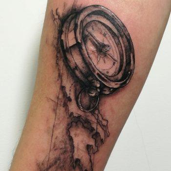 compass tattoo, realistic tattoo, fine line tattoo, travel tattoos, wanderlust tattoos, cool tattoos