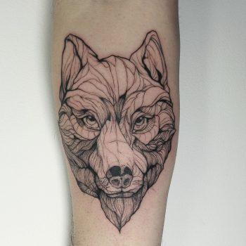 wolf tattoo, sketch tattoo, line tattoo, blackwork tattoo, sketch tattoo, animal tattoo