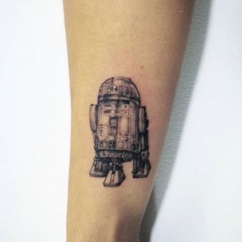 r2d2, minimal tattoo, star wars tattoo, realistic tattoo
