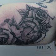 tattoo, pocket watch, rose, family