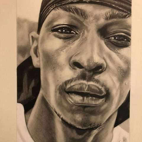 Natasha Jackson, Jme portrait drawing graphite commission a3 realism grime london