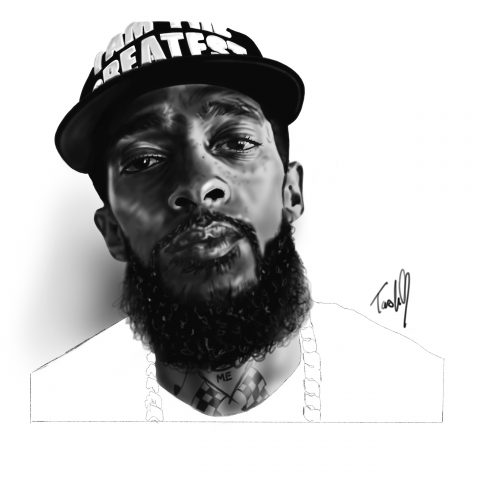Natasha Jackson, Nipsey Hussle , portrait tattoo artist, tattoos essex, Barkingside , black and grey portraits